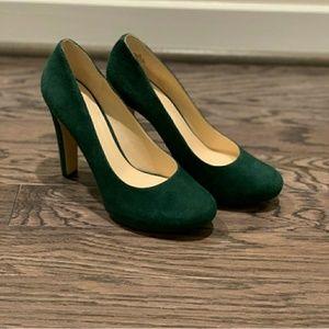 Gorgeous in Green Suede Heels!!